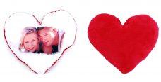 Fényképes szív alakú párna, piros plüss hátoldallal (béléssel együtt)