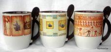 Egyiptomi mintás, kanalas bögrecsalád
