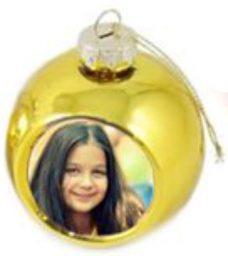 Fényképes karácsonyfadísz, arany